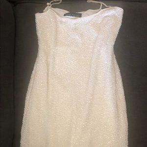 Ellen Tracy white beaded semi formal dress